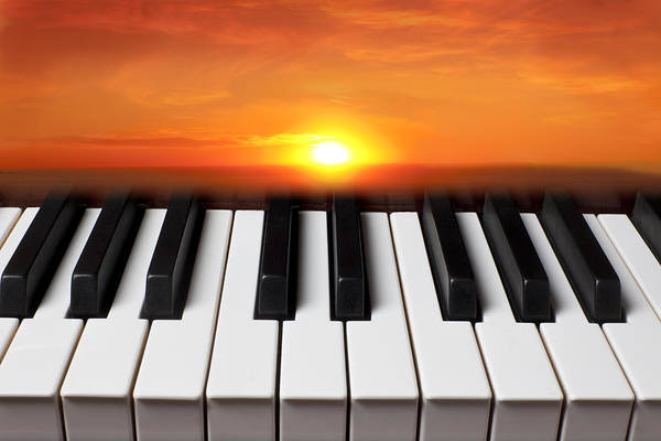 Piano Keys Print featuring the photograph Piano Sunset by Garry Gay