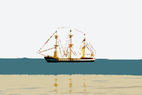 Pirate Ship Print featuring the painting Pirate Ship On The Horizon by David Lee Thompson