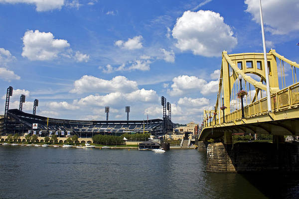 Pittsburgh Print featuring the photograph Pnc Park And Roberto Clemente Bridge Pittsburgh Pa by Kristen Vota