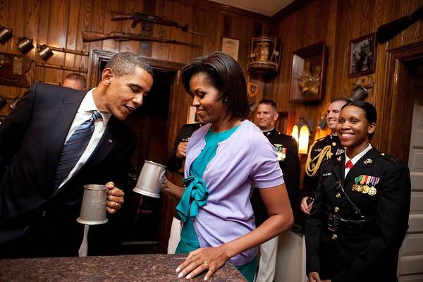 History Print featuring the photograph President And Michelle Obama Attend by Everett