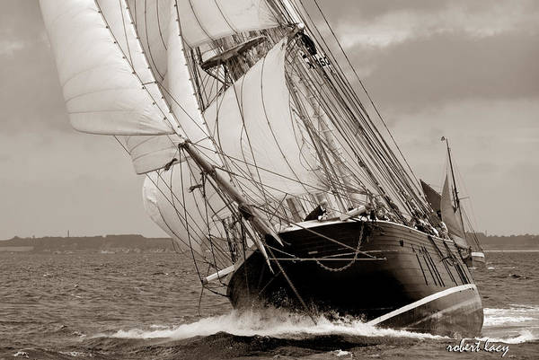 Tall Ship Print featuring the photograph Riding The Wind -sepia by Robert Lacy