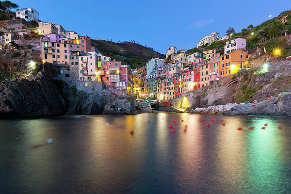 Horizontal Print featuring the photograph Riomaggiore After Sunset by Sebastian Wasek