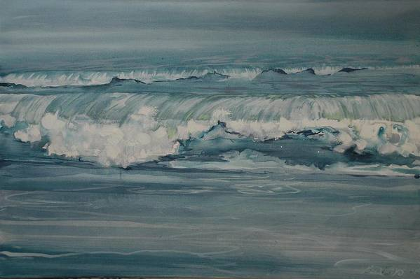 Blue Landscape Sea Seascape Waves Wave Paint Print featuring the painting Rough Surf by Amy Bernays