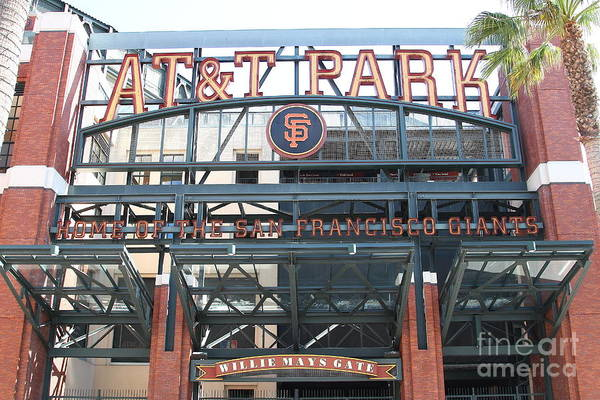 Sport Print featuring the photograph San Francisco Giants Att Park Willie Mays Entrance . 7d7635 by Wingsdomain Art and Photography