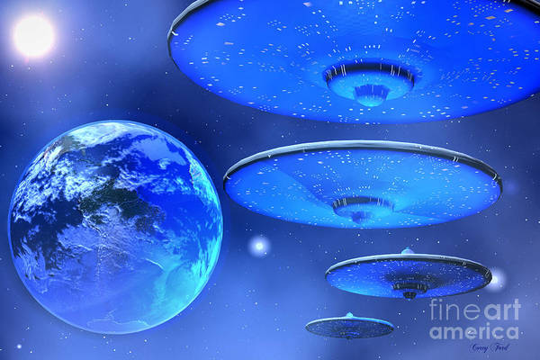 Space Art Print featuring the painting Saucers by Corey Ford