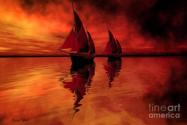 Sailing Print featuring the painting Siren Song by Corey Ford
