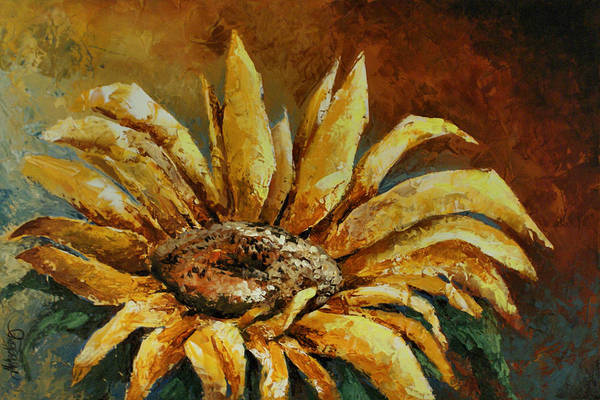 Floral Print featuring the painting Sunflower Study by Michael Lang