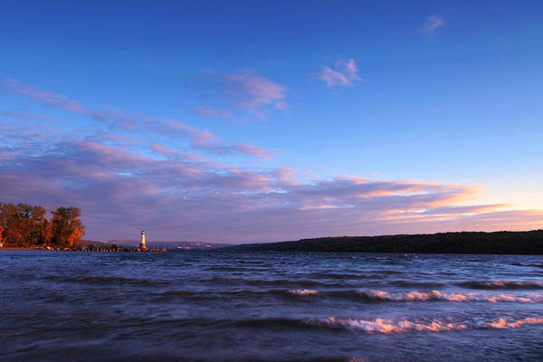 Ithaca Print featuring the photograph Sunset On Cayuga Lake Ithaca by Paul Ge