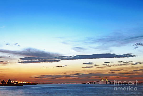 Architecture Print featuring the photograph Sunshine Skyway Bridge by Skip Nall