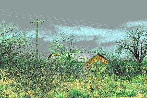 Landscape Print featuring the photograph Texas Farm House - Digital Painting by Merton Allen