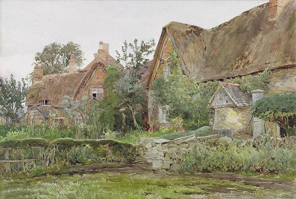 Thatched Print featuring the painting Thatched Cottages And Cottage Gardens by John Fulleylove