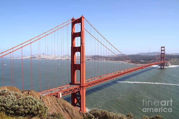 Wingsdomain Print featuring the photograph The San Francisco Golden Gate Bridge 7d14507 by Wingsdomain Art and Photography