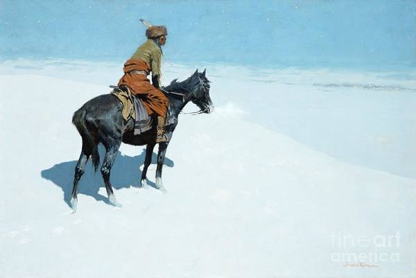 The Scout Print featuring the painting The Scout Friends Or Foes by Frederic Remington