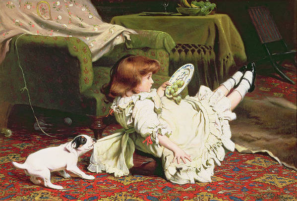 Naughty Print featuring the painting Time To Play by Charles Burton Barber
