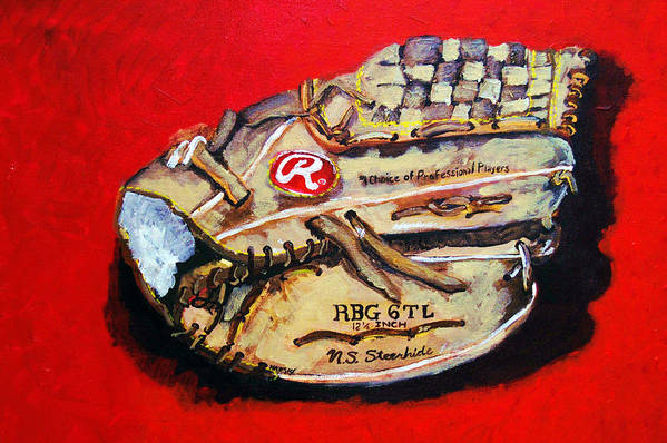 Baseball Print featuring the painting Tim's Glove by Jame Hayes