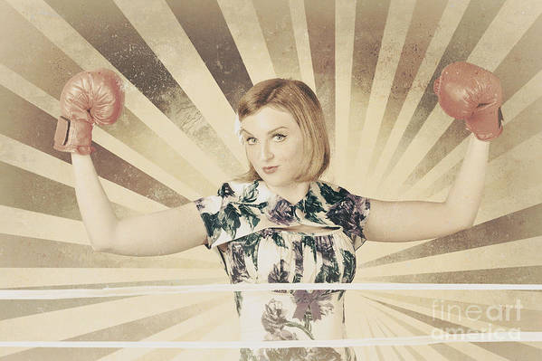 Boxer Print featuring the photograph Tough Vintage Boxing Girl Winning Round In Gloves by Jorgo Photography - Wall Art Gallery