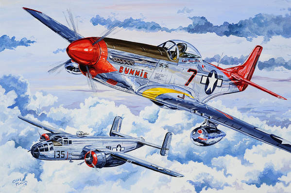 P-51 Mustang Print featuring the painting Tuskegee Airman by Charles Taylor