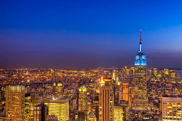 New York Print featuring the photograph View From The Top - Nyc Skyline by Mark E Tisdale
