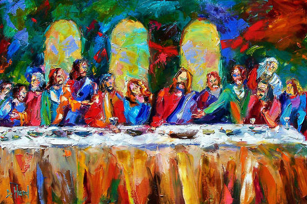 Last Supper Print featuring the painting Who Among Us by Debra Hurd
