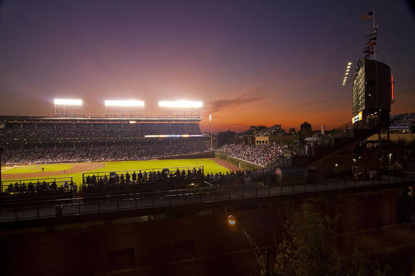 Cubs Print featuring the photograph Wrigley Field At Dusk by Sven Brogren