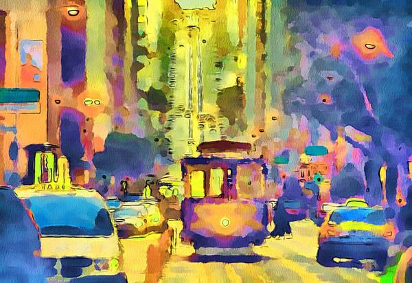 San Print featuring the digital art San Francisco Trams 12 by Yury Malkov