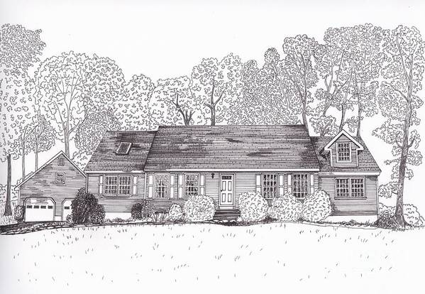 Architectural Drawings. Technical Illustrations Print featuring the drawing Betsy's House by Michelle Welles