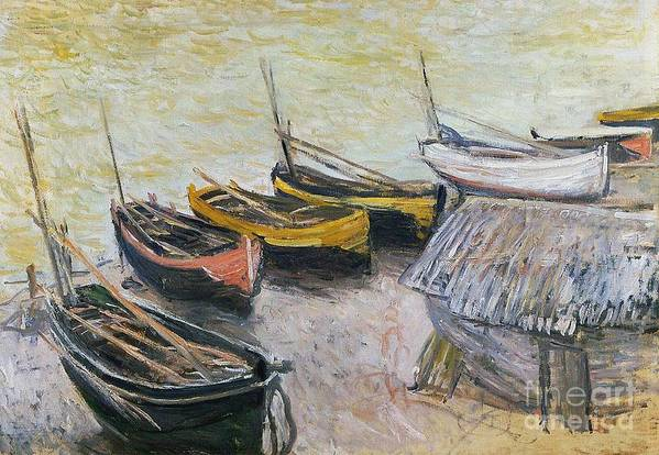 Boats On The Beach Print featuring the painting Boats On The Beach by Claude Monet