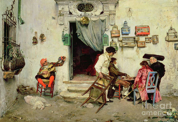 Figaro's Shop Print featuring the painting Figaro's Shop by Jose Jimenes Aranda