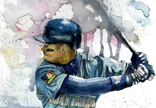 Ken Print featuring the painting Ken Griffey Jr. by Michael Pattison