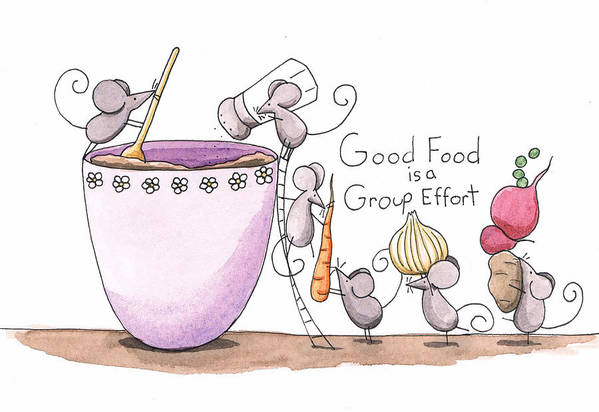 Kitchen Print featuring the painting Kitchen Art Cooking Mice by Christy Beckwith