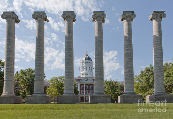 Mizzou Print featuring the photograph Mizzou Jesse Hall And Columns by Kay Pickens