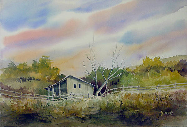 Shed Print featuring the painting Shed With A Rail Fence by Sam Sidders