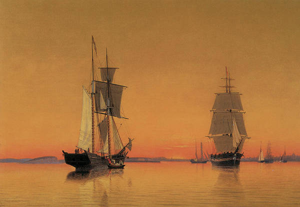 William Bradford Print featuring the painting Ships In The Boston Harbor At Twilight by William Bradford