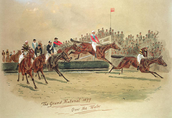 Crt Print featuring the painting The Grand National Over The Water by William Verner Longe