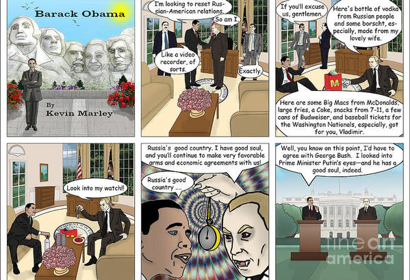 Barack Obama Print featuring the digital art Meeting Puting by Kevin Marley