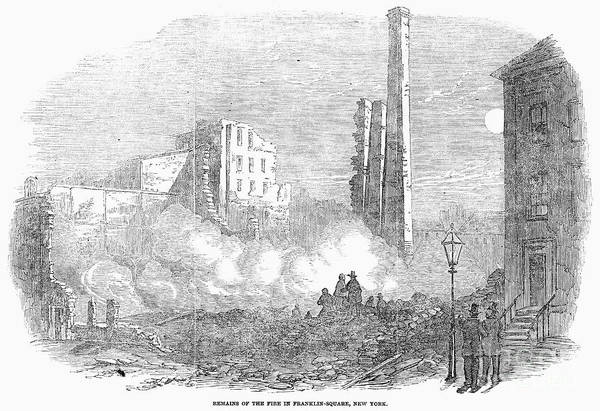 1853 Print featuring the photograph New York: Fire, 1853 by Granger
