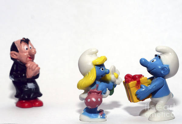 Smurf Print featuring the photograph Smurf Figurines by Amir Paz
