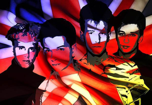 Depeche Mode Brit Pop Synthie Synthesizer Heros Famous British Band Group 80 Print featuring the painting Synthesizer Heros by Steve K