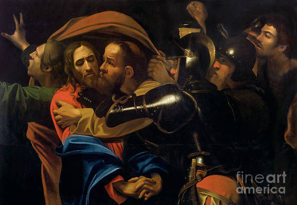 The Taking Of Christ (oil On Canvas) By Michelangelo Caravaggio (1571-1610) Print featuring the painting The Taking Of Christ by Michelangelo Caravaggio