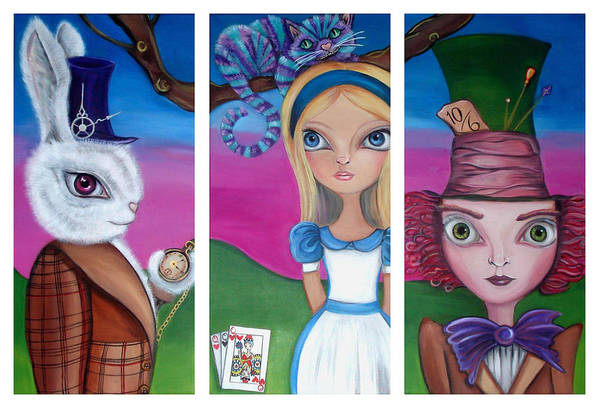 Alice In Wonderland Print featuring the painting Alice In Wonderland Inspired Triptych by Jaz Higgins