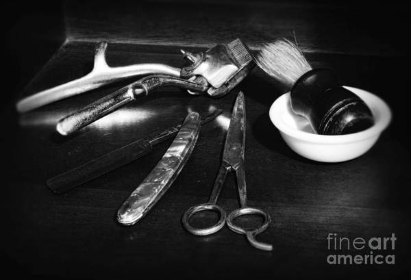 Barber - Things In A Barber Shop Print featuring the photograph Barber - Things In A Barber Shop - Black And White by Paul Ward