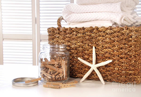 Basket Print featuring the photograph Closeup Of Laundry Basket With Fine Linens by Sandra Cunningham