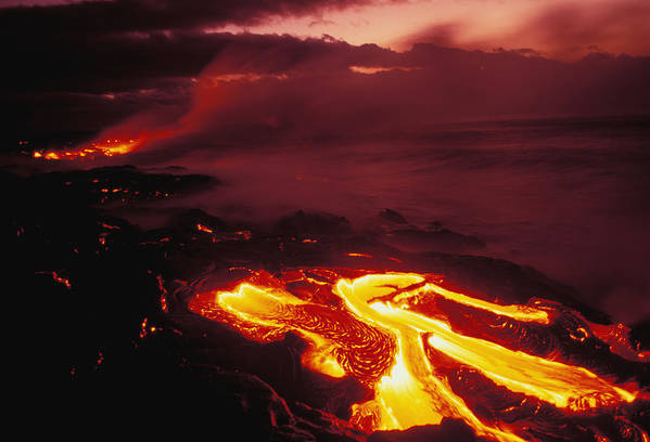 Active Print featuring the photograph Glowing Lava Flow by Peter French - Printscapes