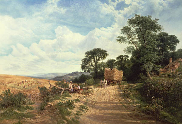 Landscape Print featuring the painting Harvest Time by George Vicat Cole