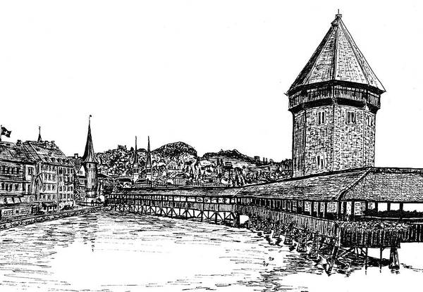 Lucerne Print featuring the drawing Lucerne by Frank SantAgata