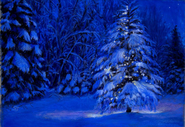Christmas Tree In The Forest Print featuring the pastel Natural Christmas Tree by Susan Jenkins