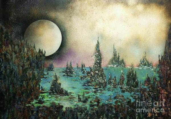 Landscape Print featuring the painting Ocean Moonrise by Kaye Miller-Dewing