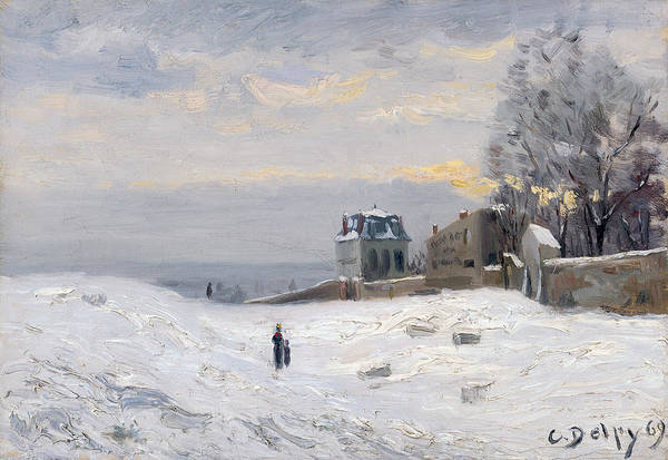 Snow Print featuring the painting Snow At Montmartre by Hippolyte Camille Delpy