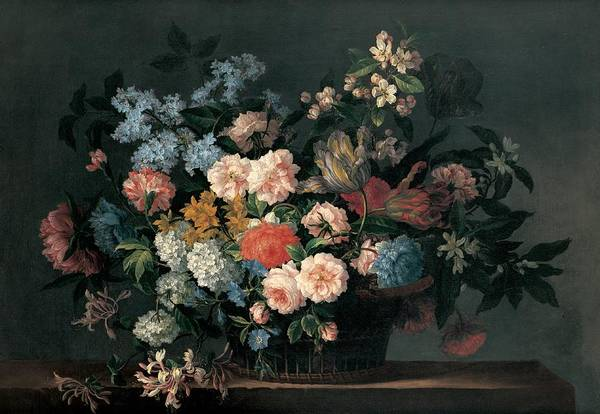Flower Print featuring the painting Still Life With Basket Of Flowers by Jean-Baptiste Monnoyer