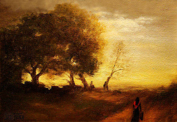 Countryside Landscape Print featuring the painting The Artists Way Home by Debi Frueh